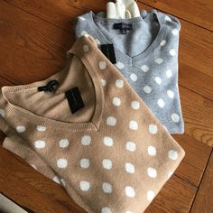 Bundle of sweaters 1 tab with white polka dots solid back and gray with white polka dots solid back separate 30 each The Limited Sweaters Crew & Scoop Necks