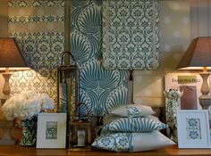 Shackleton's Lifestyle, Chatburn, Lancs, UK. An exquisitely coordinated Farrow & Ball wallpaper display.