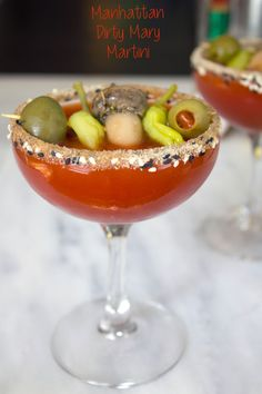 Manhattan Dirty Mary Martini -- The bloody mary and dirty martini unite! | wearenotmartha.com