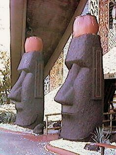 Kahiki Restaurant Entrance Moai by kb. Tiki Art, Tiki Tiki, Restaurant Entrance, Tiki Decor, Tiki Lounge, Polynesian Culture, Easter Island, Drug Store, Columbus Ohio