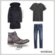 Czarny płaszcz z kapturem, jeansy i grafitowy tshirt idealnie współgrają z przecieranymi trzewikami Wojas (4288-50) w odcieniach szarości.