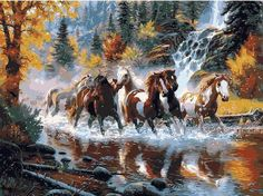 """DIY Painting By Numbers - Running Horses (16""""x20"""" / 40x50cm)"""