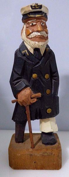 Vintage Hand Carved Wooden Sailor Captain With Peg Leg & Cane Figurine…