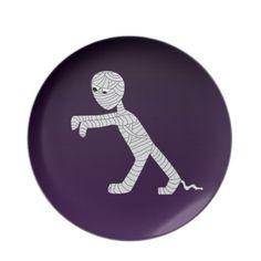 Walking #Mummy #Decorative #Plate in Dark #Purple #Zazzle #Holiday #Halloween #Seasonal #HolidayDecor