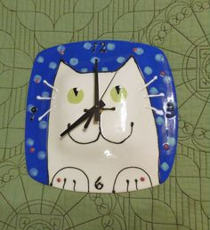 White Cat Ceramic Pottery Wall Clock Blue and White by ColorPots