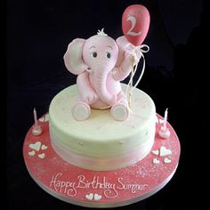 I made an elephant cake for my sweet little girl, many years ago. It wasn't THIS cute - but I've loved the pink elephant cake idea ever since. Maybe for my little granddaughter? Fondant Elephant, Elephant Cake Toppers, Elephant Cakes, Pink Elephant, Baby Elephants, Elephant Figurines, Tortas Baby Shower Niña, Baby Shower Cakes, Fancy Cakes
