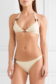 Cream stretch-polyamide Ties at neck, clasp fastening at back 77% polyamide, 23% elastane Hand wash Designer color: Bakelite Lotion, sunscreen, oil and chlorine can cause discoloration of this item; this is not a manufacturing defect. Please follow care instructions to keep your swimwear in the best condition ImportedSmall to size. See Size & Fit notes.