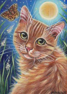 Orange Tabby Cat Moth Summer Painting