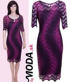 Moderné fialovo - ružové, čipkované spoločenské šaty sú tou správnou voľbou na oslavu či svadbu-trendymoda.sk