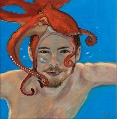 "Saatchi Art Artist Corinne Korda; Painting, ""Octopus Man"" #art"