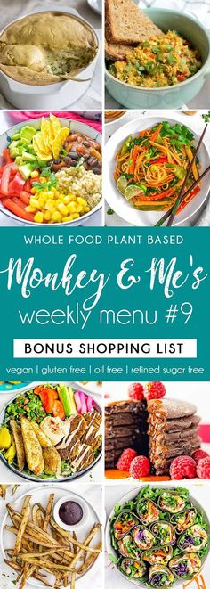 and Me's Menu 9 Whole Food Plant Based Weeknight Menu Plan! Whole Food Plant Based Weeknight Menu Plan! Plant Based Diet Meals, Plant Based Whole Foods, Plant Based Eating, Plant Based Recipes, Planning Menu, Planning Budget, Vegan Meal Plans, Vegan Meal Prep, Clean Recipes