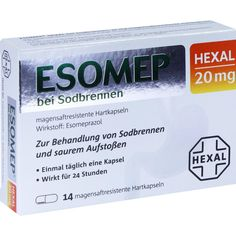 ESOMEP HEXAL bei Sodbrennen 20 mg magensaftresistentHkp:   Packungsinhalt: 14 St Kapseln magensaftresistent PZN: 10760189 Hersteller:…