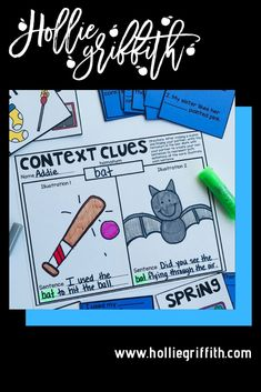 Teach students to use context clues to figure out unknown words with this engaging hands-on resource. This bundle includes 5 days of mini lessons, an anchor chart, task cards, partner games, activities, a vocabulary journal, and a quick assessment. This is a complete hands-on mini unit that will add fun and excitement to your classroom. #HollieGriffithTeaching #KidsActivities #Reading