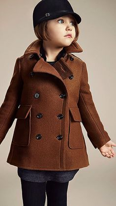 Burberry little girls wool double breasted pea coat