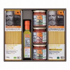 Four sets of long pasta made from organic flour, two pasta sauce made from organic tomato and organic extra virgin olive oil set.