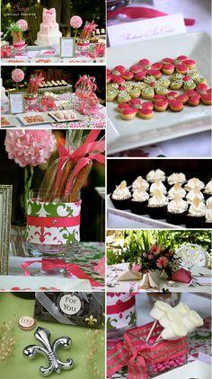 bridal shower decorations - pink & green damask