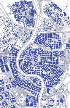 Hand drawn city map of Raalte