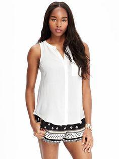 Women's Matte-Crepe Sleeveless Tops Product Image