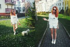 H&M White Jacket, Céline White Top, Bershka White, Usa Cute, H&M Platforms, West Highland White Terrier Edi <3