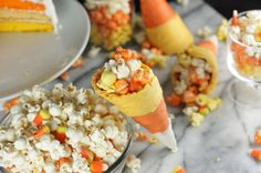 Yes! Candy Corn Popcorn in Candy Corn Cones!