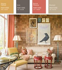 peach, brick and coziness..........the perfect living room, for me!