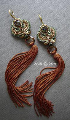 Серьги ручной работы. Ярмарка Мастеров - ручная работа Серьги рыжие. Handmade. Soutache Earrings, Diy Earrings, Tassel Earrings, Earrings Handmade, Brown Earrings, Tassel Jewelry, Beaded Jewelry, Jewelry Box, Fabric Jewelry