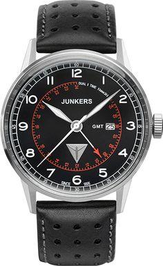 Montre Junkers Homme 69642 - Quartz - Analogique - Cadran en Acier Argent - Bracelet en Cuir Noir - Date - Etanche 10 bar
