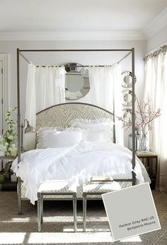 Gray bedroom with canopy bed