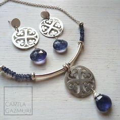 Conjunto de plata con bellas iolitas. * Se puede personalizar con otras piedras, consulta por disponibilidad y valores.  Aritos: $40.000 Collar: $50.000