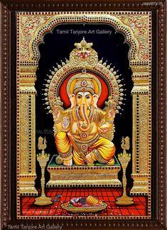 Original hand made tanjore paintings Lord Ganesha Paintings, Lord Shiva Painting, Ganesha Art, Mysore Painting, Tanjore Painting, Online Art Store, Ganesh Wallpaper, Hindu Statues, Pooja Room Design