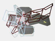 Titel: Out of space. 5 kleuren houtdruk, oplage 3. Formaat: 100 x 70 cm, 2011.