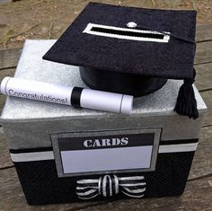 Celebrate your graduate with a custom, handmade Graduation Gift Card Holder. Makes a perfect centerpiece for the party gift table and a secure way to hold money and cards given by guests. This 100% handmade graduation card box features a permanently fixed cardboard graduation cap