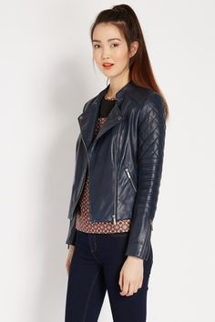 Collarless Leather Biker Jacket | Blue | Oasis Stores
