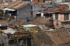 Guangzhou old town rooftops Overseas Chinese, Visit China, Chinese Architecture, Guangzhou, Historical Sites, Old Town, All Over The World, Rooftops, Cabin