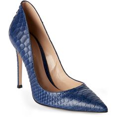 Gianvito Rossi Blue Python Decollete Pumps ($600) ❤ liked on Polyvore featuring shoes, pumps, blue, slip on shoes, pointy-toe pumps, slip-on shoes, snakeskin pumps and pointed-toe pumps