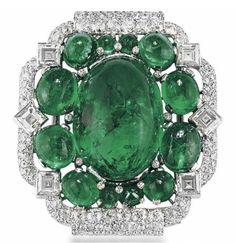 An Art Deco emerald and diamond brooch, by Cartier