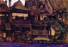 egon schiele   houses on the moldau krumau, 1910