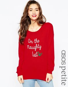 """Petite Size Red Christmas Jumper with """"I'm on the Naughty List"""" slogan #noveltyxmasjumpersuk"""