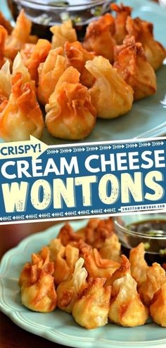 In search of party food? Thanks to these crispy bite-sized treats, entertaining can be done in a jiffy! Pepper Jack Chicken Cream Cheese Wontons are a cinch to put together. Plus, even your tween can help you make the filling ahead! Save this simple appetizer recipe! Easy Appetizer Recipes, Yummy Appetizers, Appetizers For Party, Snack Recipes, Great Recipes, Favorite Recipes, Unique Recipes, Family Recipes, Cream Cheese Wontons