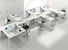 Modern office desks for the employees. Modern Office Desk, Modular Office, Office Workspace, Office Table, Office Spaces, Office Furniture Design, Workspace Design, Office Interior Design, Office Interiors