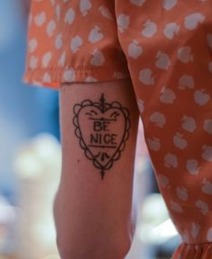 heart tattoo with text - be nice