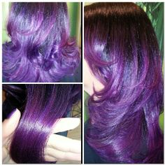 Purple colormelt with a pink-based purple and an indigo-based purple...custom mixed using Joico Intensities