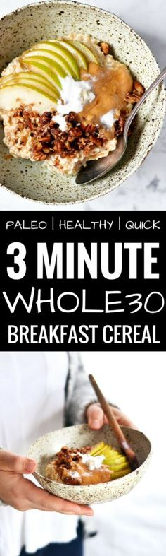 The ultimate one bowl breakfast! Quick, easy, and tasty! The best easy paleo breakfast recipe. Paleo breakfast recipes for beginners. Easy paleo breakfast recipes for weight l Paleo Diet Breakfast, Healthy Breakfast On The Go, Whole 30 Breakfast, Vegan Breakfast Recipes, Breakfast Bowls, Breakfast Ideas, Breakfast Porridge, Healthy Breakfasts, Breakfast Crockpot