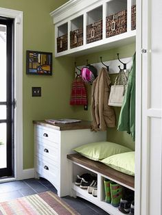 A great way to use a little area by your entrayway. Love the repurposed mini dresser (store off weather gloves, hats, scarves, doggie clothes...) and the shoe storage. May want to do in black though since Travis' work shoes are always dirty. Or, if do white can put in that snazzy drawer paper in the bottom...