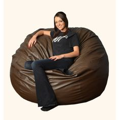 Bay Isle Home Aloa Bean Bag Lounger Upholstery: Faux Leather - Brown, Size: 5'