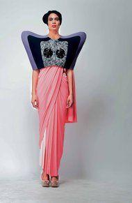 Amazing reinterpretation of a Sari by Indian designers Shivan Bhatiya and Narresh Kukreja.  Definitely has a bit of the Schiap sensibility to it.