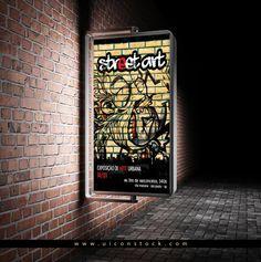 Free Street Advertisement Vertical Billboard Mockup