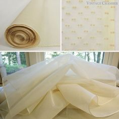 """Vtg 16 yds 38"""" wide Cream/Ivory Flocked Cotton Double Dotted Swiss Crisp Organdy"""