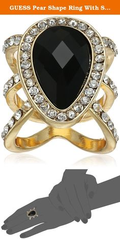 GUESS Pear Shape Ring With Stones Jet/Gold Ring, Size 7. Made in China. pave framed faceted pear shape ring. stone on 3 band look. Imported.