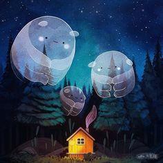 Wind ghosts by ellievsbear Digital Foto, Arte Cyberpunk, Cute Illustration, Aesthetic Art, Cute Drawings, Cute Art, Art Inspo, Fantasy Art, Concept Art